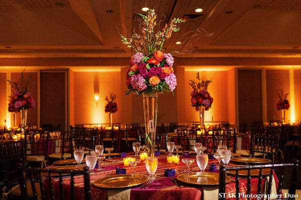 Indian wedding reception floral centerpieces.