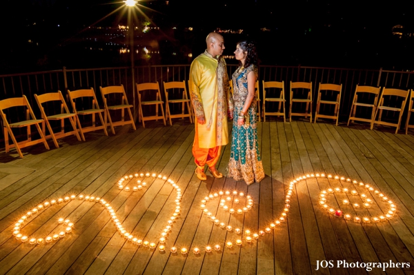 Indian bride and groom portrait at outdoor indian wedding venue