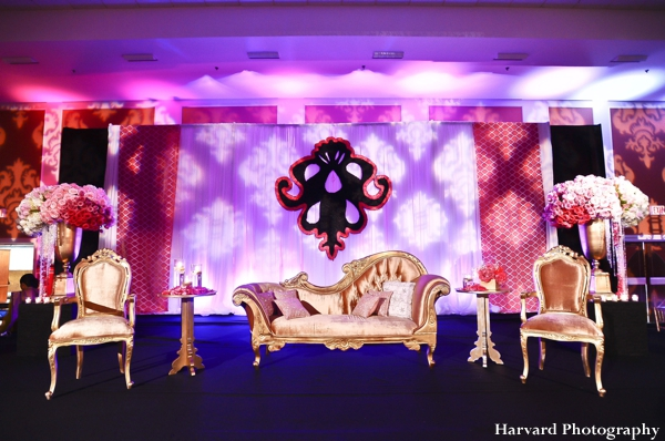 Indian wedding reception altar for indian bride and groom