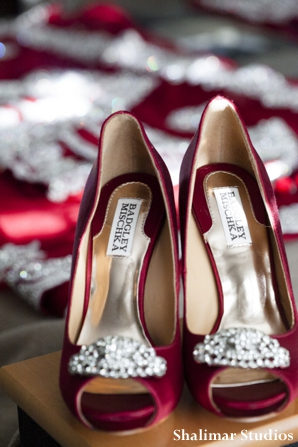 Indian bridal shoes in red by badgley mischka