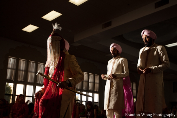Sikh indian wedding ceremony in pink, rose and white