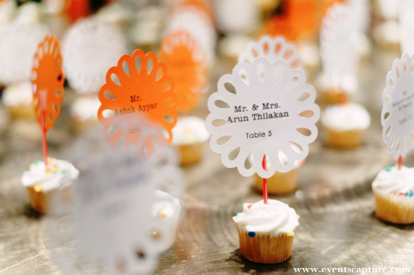 Indian wedding tablesetting ideas with cupcake place cards.