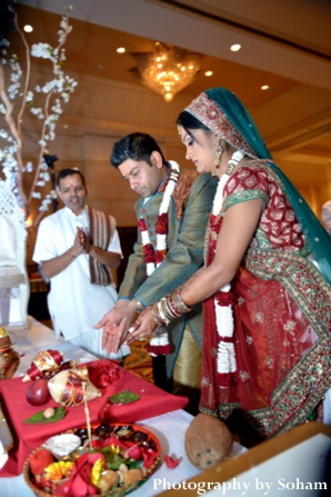 Indian wedding ceremony with traditional indian wedding customs.