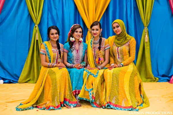 pakistani portrait at sangeet in yellow and blue