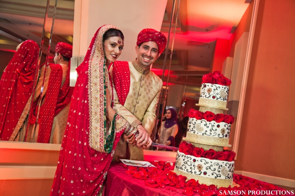 Indian wedding cake with red roses