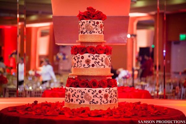 Indian wedding cake, or Pakistani wedding cake, with fresh roses