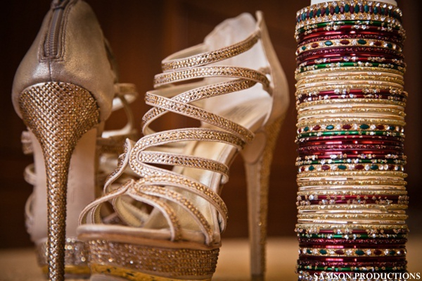 Indian wedding bridal heels and churis.