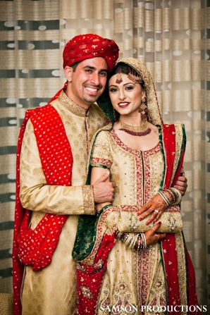 Pakistani bride and groom portrait.