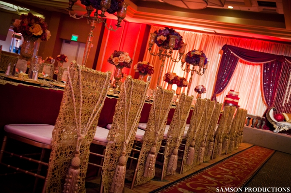 chair covers and wedding decor at indian wedding reception