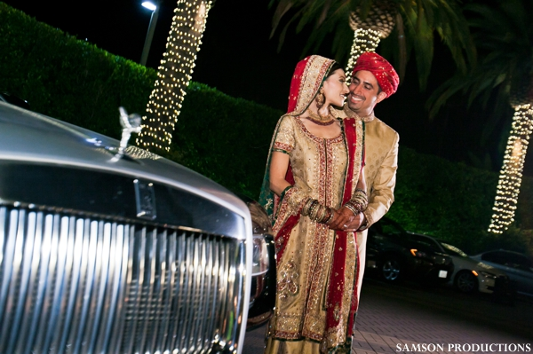 Pakistani bride and groom portrait at Pakistani wedding reception.