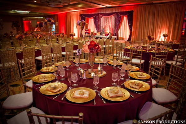 tablesetting ideas for burgundy, red and gold wedding reception