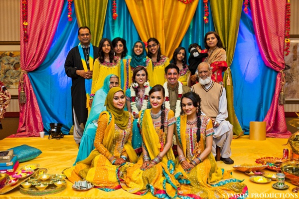 Pakistani wedding sangeet decor and clothing